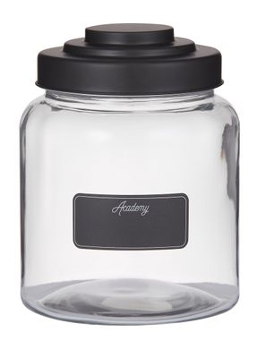 JAR GLASS 16X20.5CM W/BLACKBOARD+BLK LID