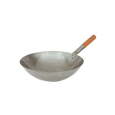 WOK 300MM IRON W/WOODEN HANDLE