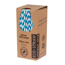 STRAW PAPER BLUE/WHITE 205MM, 250PCES