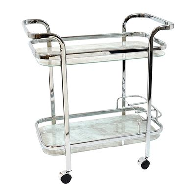 TROLLEY SILVER/WHITE MARBLE RECT