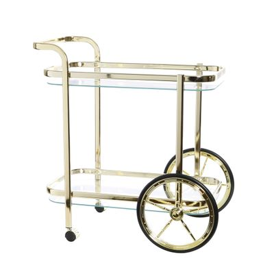 TROLLEY W/WHEELS GLASS/GOLD, SMITH