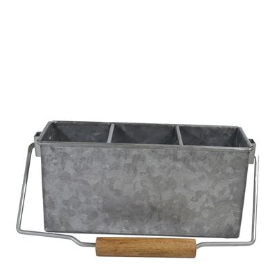 UTENSIL CADDY GALV W/HDL 3COMP, CONEY