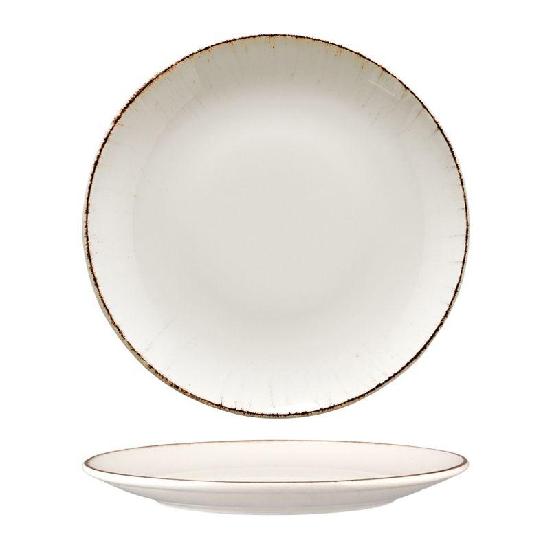 PLATE COUPE WHITE/BRN 210MM, BONNA RETRO