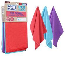 TEA TOWEL RAINBOW 3PK,WHITE MAGIC