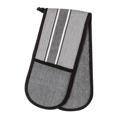 OVEN GLOVE DOUBLE BLACK/WHITE, ELLIS D&W