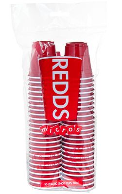 CUP MICRO PLASTIC RED 60ML 50PK, REDDS