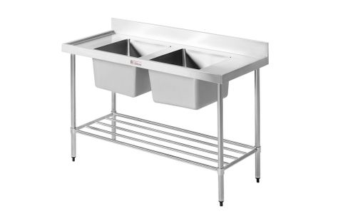 SINK BENCH DOUBLE 2100WX600DX900H SIMPLY