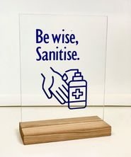 SIGN HAND SANITISER, CLEAR+BLUE W/STAND