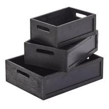 BOXES B-BOARD/WOOD SET3 BLK 28/34/40CM