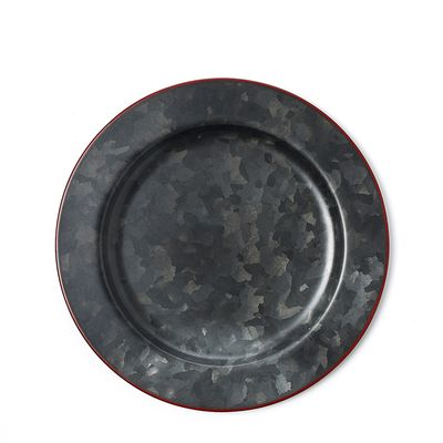 PLATE GALV BLK W/ RED RIM 230MM, CONEY