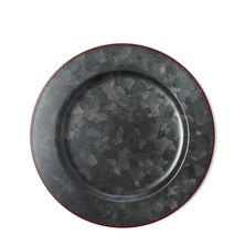 PLATE GALV BLK W/ RED RIM 280MM, CONEY