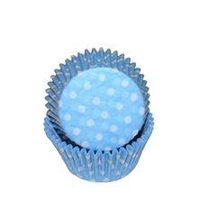 CUPCAKE CASE BLUE POLKA 50P SWEET THEMES