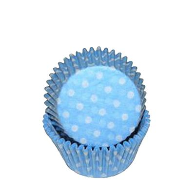 CUPCAKE CASE BLUE POLKA 50P SWEET THEMES