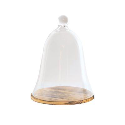 BASE TIMBER LGE W/GLASS CLOCHE, PLATTEN