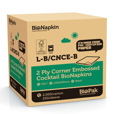 NAPKIN COCKTAIL EMBOSS BLK 2PLY, 2000CT