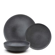 DINNER SET BLACK 12PC, S&P HUE