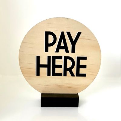 SIGN PAY HERE ROUND 140MM W/STAND
