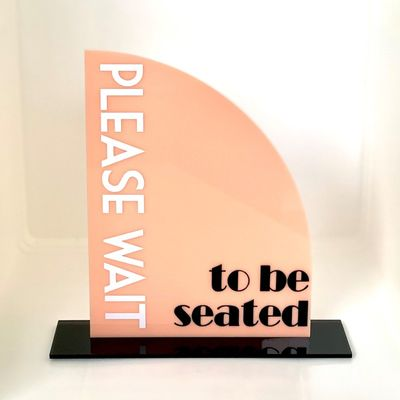 SIGN WAIT TO BE SEATED PEACH/BLK 2 PCE