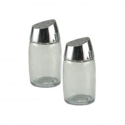 SALT & PEPPER SHAKER GLASS 8CM
