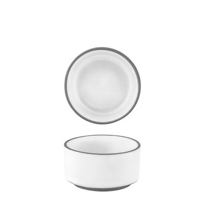 DISH SAUCE WHITE RIMMED 65X35MM, TK MUSE