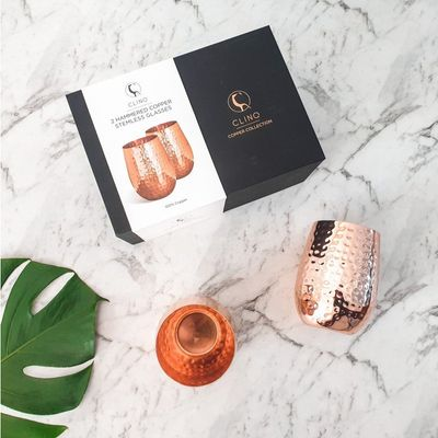 GLASS STEMLESS HAMMERED COPPER 2PK CLINQ