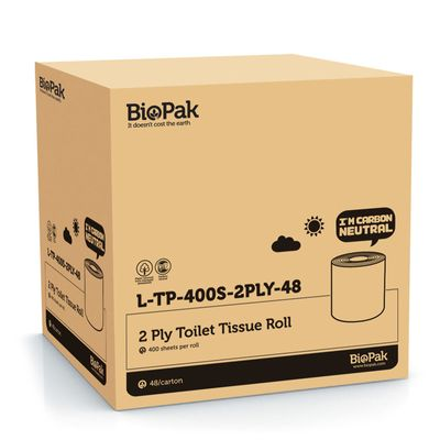 TOILET PAPER 2-PLY 400S BIOPAK 48CTN