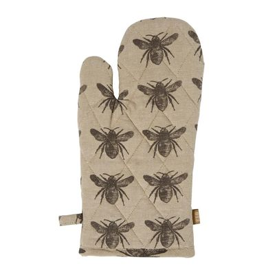 OVEN GLOVE 2PK CHARCOAL HONEY BEE