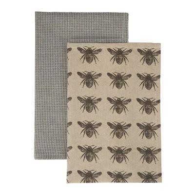 TEA TOWEL 2PK CHARCOAL HONEY BEE