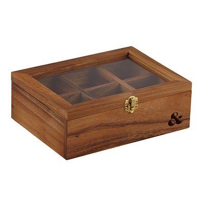 TEA BOX ACACIA 25X18.5X9CM,D&W LEAF&BEAN