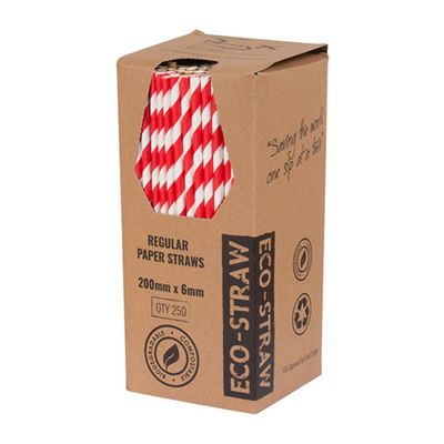 STRAW PAPER RED/WHITE 205MM