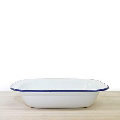 PIE DISH WHITE WITH BLUE RIM ENAMEL