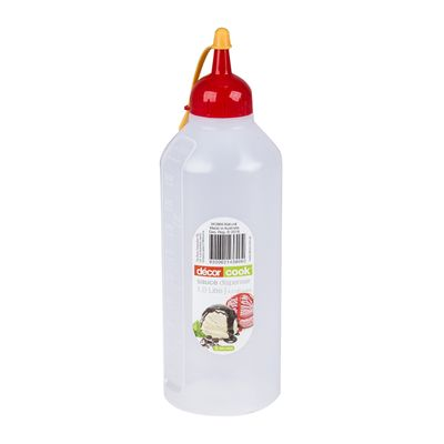 DECOR SAUCE BOTTLE RED LID