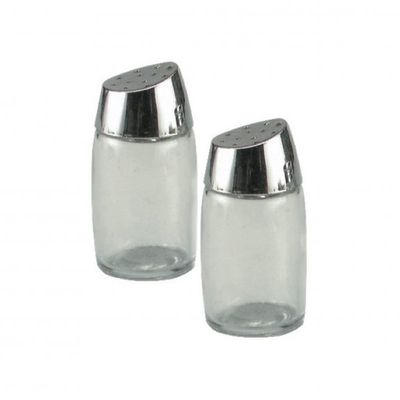 SALT & PEPPER SHAKER GLASS 8CM
