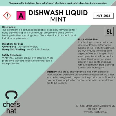DISHWASH LIQUID MINT, CHEFS HAT PREMIUM