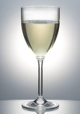 WINE GLASS 250ML W/LINE P/CARB, POLYSAFE