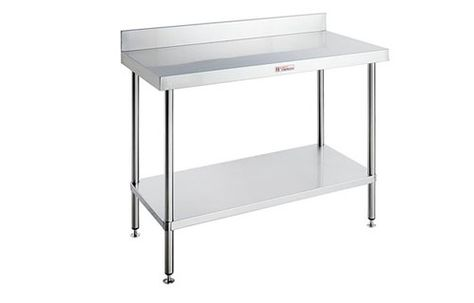 WORK BENCH WITH LEG BRACE AND SPLASH BACK SIMPLY STAINLESS