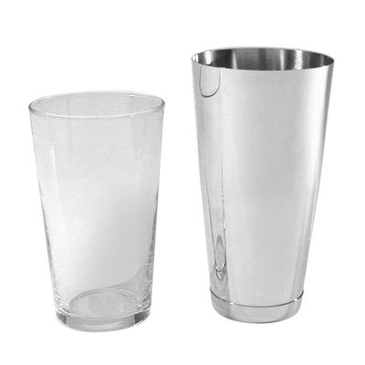 COCKTAIL SHAKER 2PCE SET GLASS&BASE