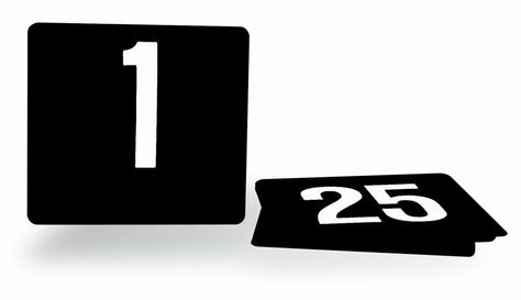 TABLE NUMBERS W/ON BLACK