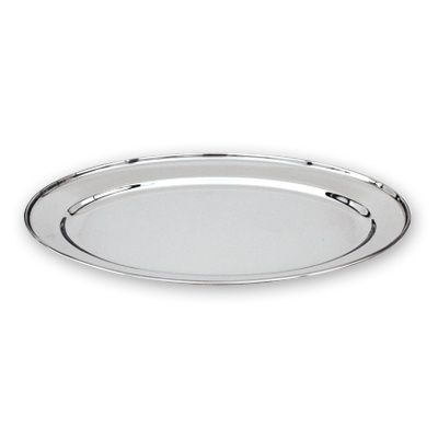 PLATTER OVAL 18/10 ROLLED EDGE 450X295MM