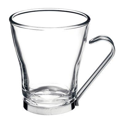 GLASS CAPPUCCINO W/SS HANDLE 220ML OSLO