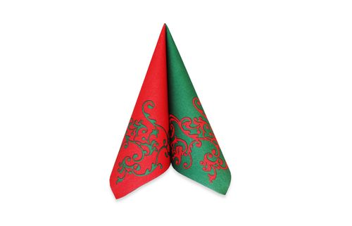 AIRLAID 40CM RED/GREEN DESIGN 50/PKT