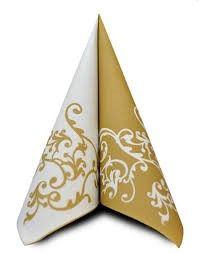 AIRLAID 40CM WHITE/GOLD DESIGN 50/PKT