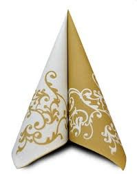 AIRLAID 40CM WHITE/GOLD DESIGN 50/PKT