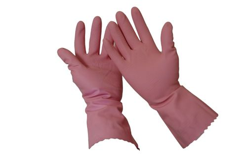 SILVERLINED RUBBER GLOVE  PINK #10