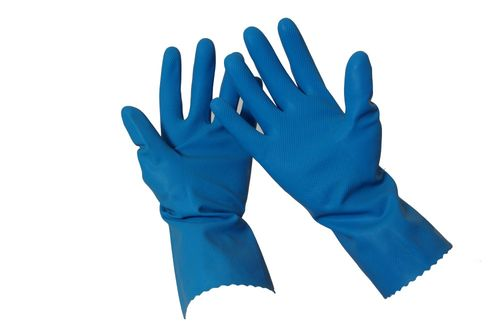 SILVERLINED RUBBER GLOVE BLUE  # 8 -PR