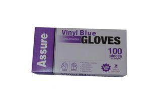 VINYL GLOVE L/POWDER BLUE SMALL -100PKT