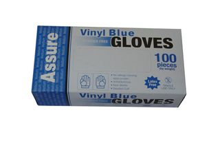 VINYL GLOVE P/FREE BLUE MED -100PKT