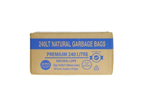 GARBAGE BAG NATURAL LDPE 240L 100/CTN