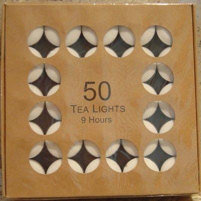 TEA LIGHTS 9 HOUR BURN TIME BOX 50