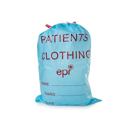 PATIENT CLOTHING BAG D/STRING BLUE 500/C